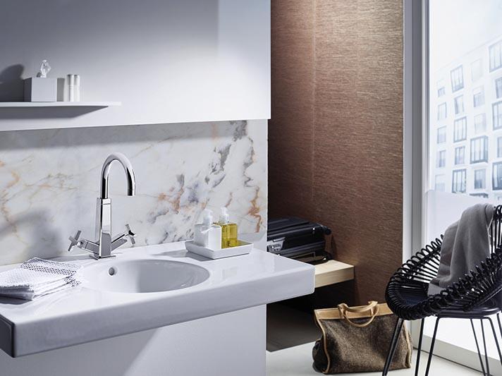 Waschtischarmatur mit zwei klassischen Kreuzgriffen, Hansacliff |  Hansa