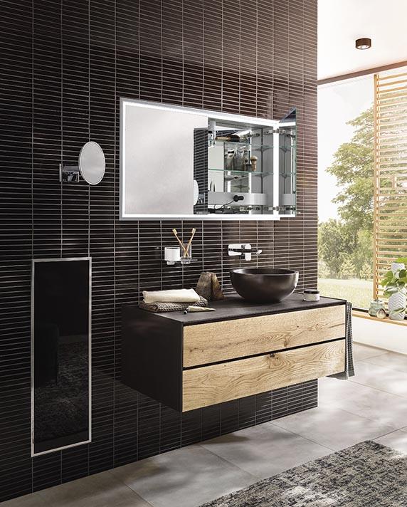 Lichtspiegelschrank Prestige, Modul Asis, Waschtisch, Accessoires | Emco